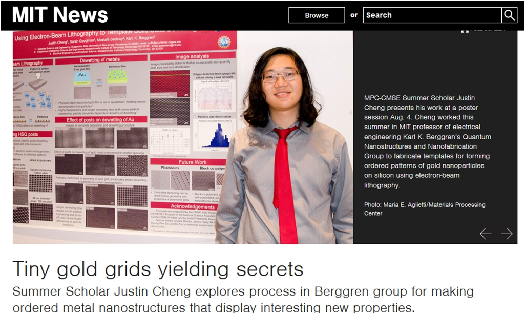 Undergraduate Justin Cheng's work with Dr. Bedewy is featured on MIT website