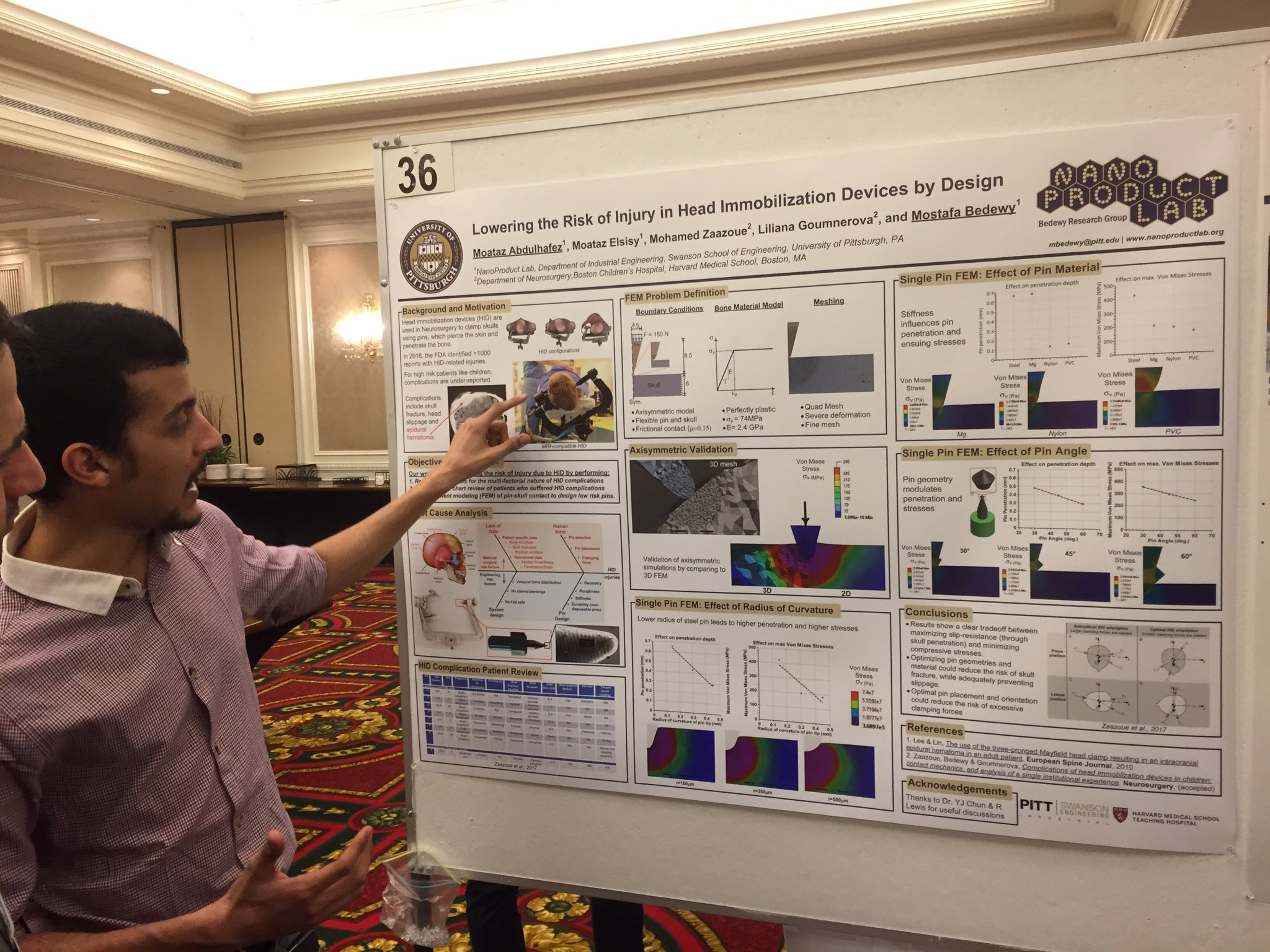 Moataz Abdulhafez presents a poster on the design and mechanics of a neurosurgical device